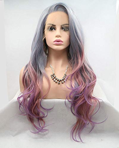 Mermaid Wig Natural Hairline Side Part Synthetic Lace Front Wigs For Drag Queen Mixed Colorful Body Wave Long Hair 24