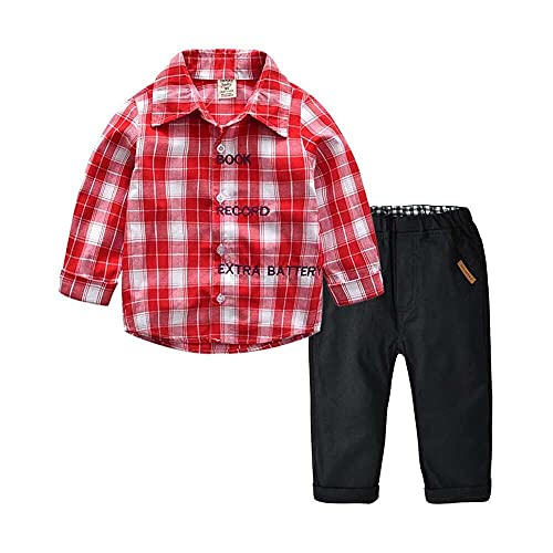 junmo shop Toddler Baby Boys Gentleman Plaid Long Sleeve Letter Cardigan Fashion Plaid T-Shirt Gentleman Tops+ Casual Trousers Pants Outfits