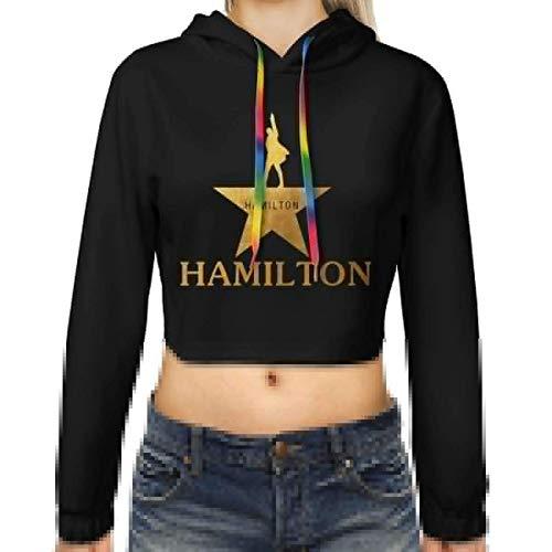 maichengxuan Cropped Hoodies für Frauen, Golden Hamilton Print Crop Top Hoodies Mädchen Hiphop Pullover Sweatshirt Tops Gr. Large, siehe abbildung