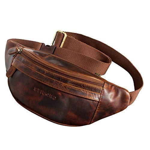 STILORD 'Terry' Bauch Tasche Leder Vintage Hüfttasche für Herren Damen Belt Bag für Jogging Festival Urlaub Handy Gürteltasche Umschnalltasche Echtleder, Farbe:Kara - Cognac