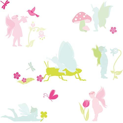 Anna Wand Wandsticker Lovely Fairies - Wandtattoo für Kinderzimmer/Babyzimmer mit Elfen und Feen - Wandaufkleber Schlafzimmer Mädchen & Junge/Wanddeko Baby/Kinder / 2 DIN A4 Bögen