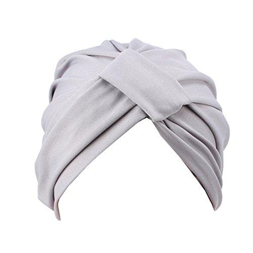Modischer Damenhut, weich, elastisch, Turban, Hijab, Chemo-Krebs, indischer Stil Gr. Einheitsgröße, grau