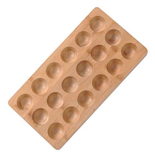 Organic Bamboo Wooden Egg Holder - Eggs 18 Count, Egg Holder Countertop, Wooden Egg Tray, Bamboo Egg Skelter for Kitchen Storage or Refrigerator, Deviled Egg Carrier, Decorative Egg Dispenser Rack