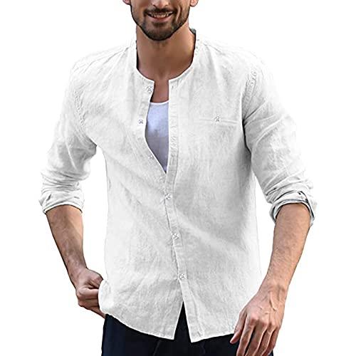 Camisa para hombre de manga larga negra con protección solar y cuello en V, 03 # Blanco, L