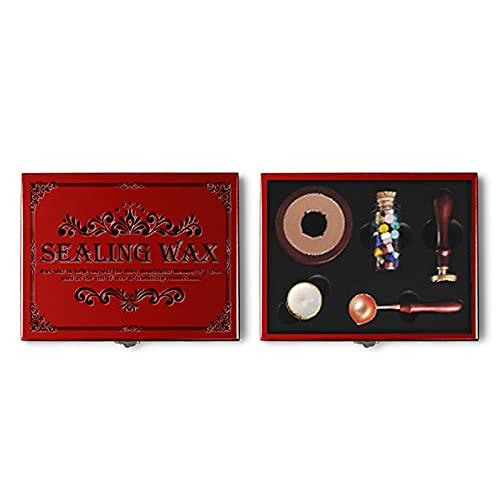 YHSW Kit de Sello de Cera,Caja de Madera Retro de Sello de Cera de Sellado,Kit de Encerado con Juego de Caja de Regalo de Vela de Cuchara de Palo