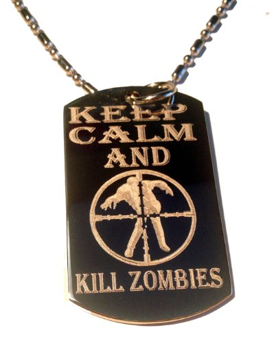Keep Calm and Kill Zombies Target Zombie Outbreak Logo Symbols - Military Dog Tag Luggage Tag Key Chain Metal Chain Necklace