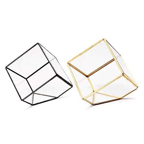 MROSW Macetero de cristal geométrico para helecho, musgo suculento, terrario, maceta artística, joyería, portavelas de regalo, decoración para el hogar y la oficina
