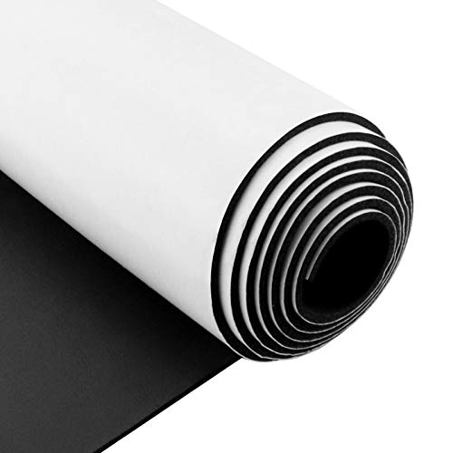 Foam Insulation Neoprene Sheets with Adhesive,Multi-Function Soundproof Large Marine Closed Cell Neoprene Rubber Roll (W:12 Inch T:1/8 Inch L:59 Inch,Black)