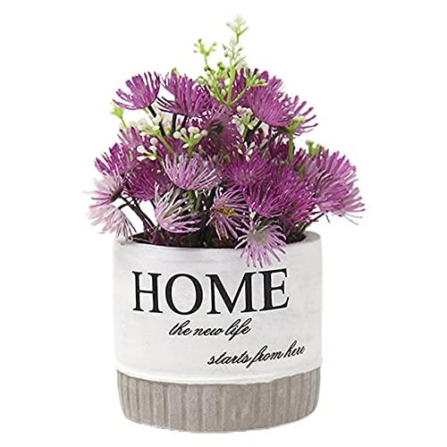 cuiyoush Plantas falsas, plantas en maceta realistas para decoración del hogar, de plástico, bonsái artificial con lavabo para oficina, color morado