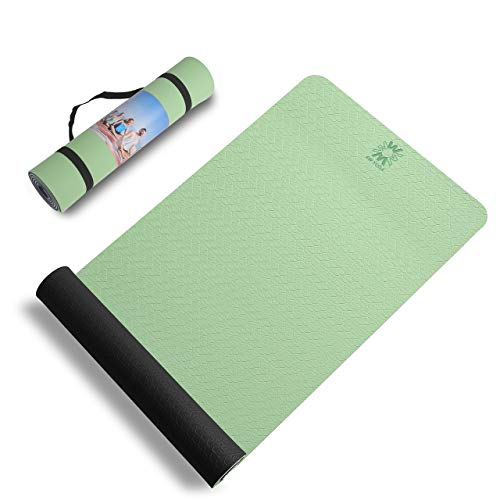 Eco Friendly TPE Yoga mat Come with Yoga Towel Non Slip Sweat Absorbent Oversize