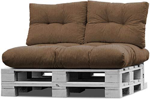 normani Palettenkissen Set Sofa Sitzkissen mit Rückenkissen Outdoor Palettenauflagen (Sitzkissen Gesteppt 120x80) Farbe Camel