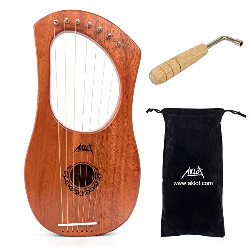 AKLOT Lyre Harp, 7 corde in metallo, in mogano, con chiave di accordatura e custodia nera…