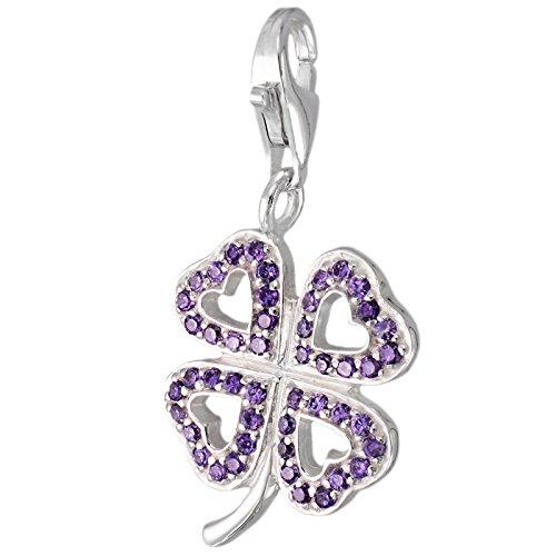 Corazón MELINA encanto del trébol plata Zirconia 925 1801849 LILA
