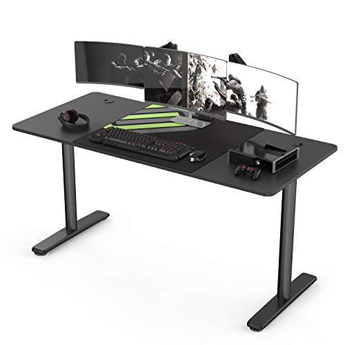 It#039s_Organized 60 inch Computer Gaming Desk Large Table WorkstationSturdy IShaped Leg Widen Space Modern Writing Table for Home Office Gaming/WorkingBlack