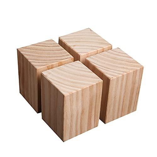 Las patas de muebles de madera naturales, conjunto de 4 pies cuadrados, para camas, mesas de café, sillas, pueden aumentar la altura de los muebles, la capacidad de carga fuerte, las patas del gabinet