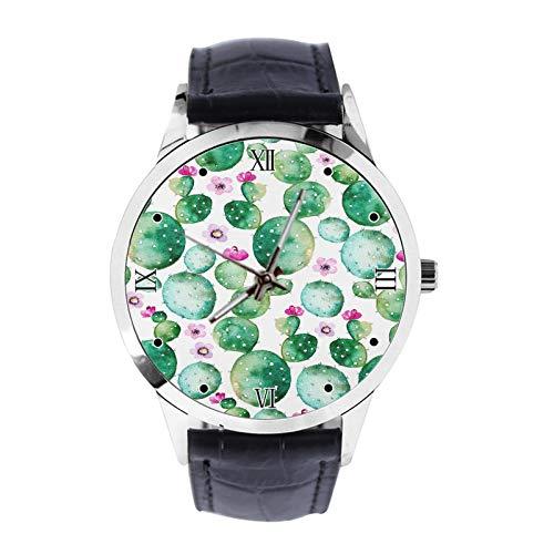 Cactus Hintergrundbild Custom Armbanduhr Unisex Analog Quarz Uhr mit Lederband Uhren für Mädchen Jungen Armbanduhr