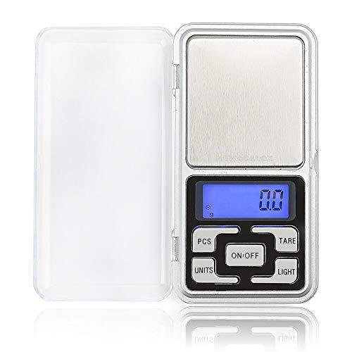 Báscula Digital de bolsillo, minibalanza de precisión pantalla lcd retroiluminada con plataforma de acero inoxidable para joyería, cocina, pastillas, infusiones. Precisión 0,1/0,01g
