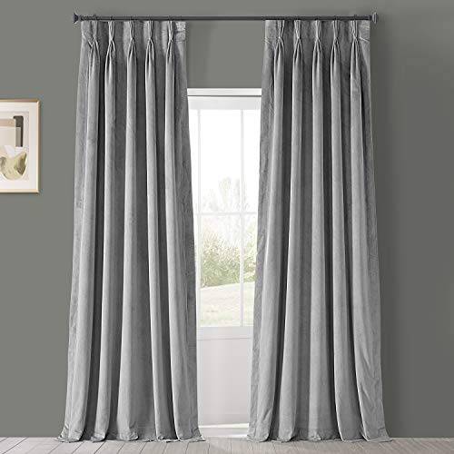 HPD Half Price Drapes VPCH-145002-84-FP Signature Pleated Blackout Velvet Curtain (1 Panel), 25 X 84, Silver Grey