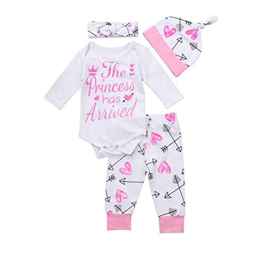 Geagodelia 4Pcs/Set Baby Girls Outfit Clothes Newborn Infant Autumn Long Sleeve Romper Pants Headband Hat White