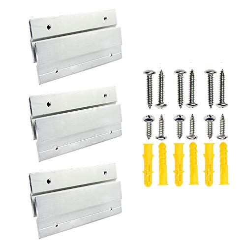 "BIGTEDDY - 6"" French Cleat Picture Hangers Hardware Kit Mount Aluminum Z Clips Hanging Mounting Bracket for Mirror Photo Shelf and Cabinet ( 3Pairs with Screws and Anchors)"