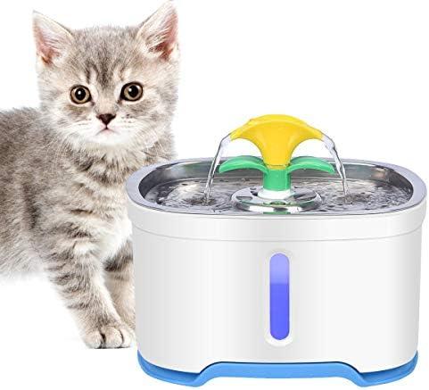 RIOGOO Fuente de Agua para Gatos, Bomba de Apagado automático de 2.5L, súper silencioso