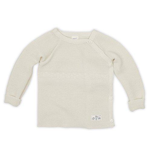 Lilano Pullover gestrickt mit Knopfleiste, Größe 50/56, Farbe Natur, 100% kbT-Schurwolle