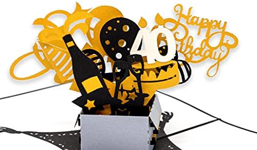 Geburtstagskarte 40. Geburtstag, Geschenkpaket mit Luftballons & Sternen