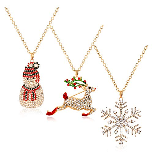 BSJELL Long Christmas Necklace Pave Rhinestone Reindeer Snowflake Snowman Pendant Necklace Xmas Santa Holiday Festive Necklace Jewelry 3 Pack