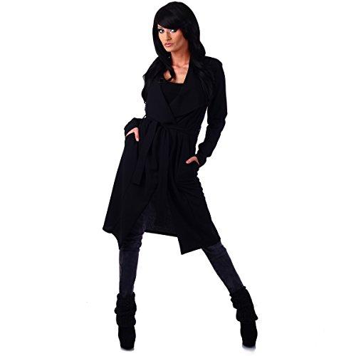 Fashion4Young 10780 Damen Cardigan Longjacke Longstrickjacke Long Jacke Mantel Gr. 36/38 (36/38, Dunkelblau)