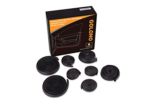 GOLOHO Door Seal Kit for Tesla Model 3, Self-Adhesive Rubber Weatherstrip Noise Reduction Kit (Left & Right Side)