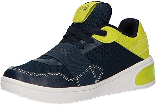 Geox xled sneaker junior boy con luci a led personalizzabili j927qb - 32 - navy-lime