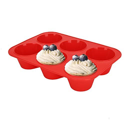 SUPER KITCHEN Große Muffinform aus Silikon für 6 Muffins, Antihaft Muffinblech Antihaftbeschichtet Backblech Backform für Cupcakes, Brownies, Kuchen, Pudding, 27,8 x 19 x 5 cm (Rot)