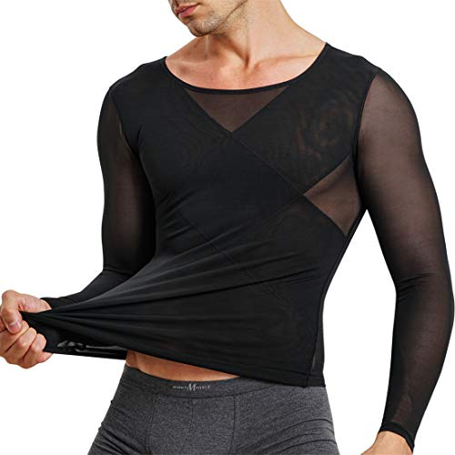 TAILONG Mens Compression Shirts Long Sleeve Baselayer Top Slimming Undershirts for Abs Abdomen Slim Body Shaper (Black, XX-Large)