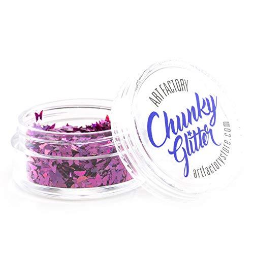 Art Factory Chunky Glitter - Papillons Rose (10 ml), de qualité cosmétique Polyester Glitter pour le visage, corps, cheveux
