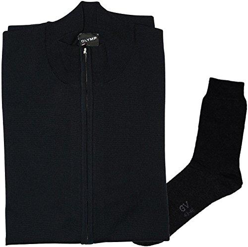 OLYMP Strick Cardigan Strickjacke Zipper-Jacke - Merinowolle, Marine + 1 Paar hochwertige Socken, Bundle
