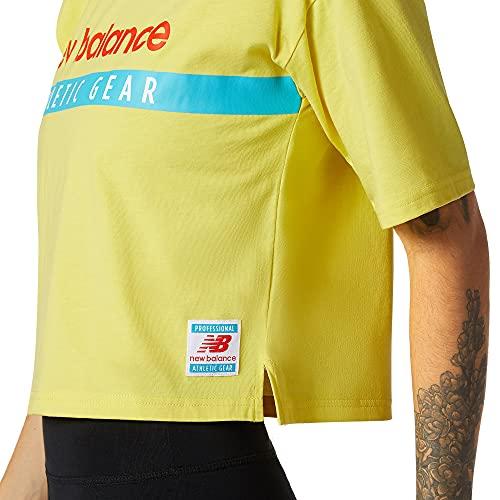 New Balance Camiseta Essentials Field Day Boxy para mujer, Mujer, amarillo, S