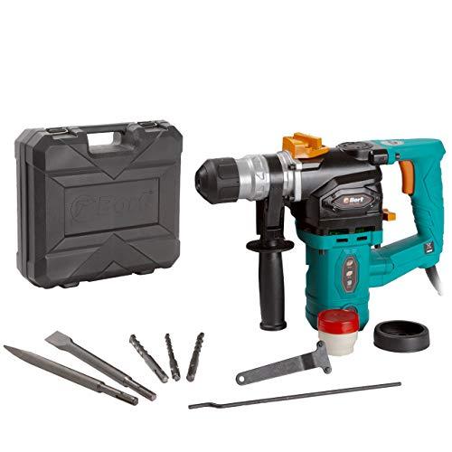 Bort BHD-1200 Bohrhammer, 1100 W, Schlagenergie: 5 J, Bohr-Ø Beton max: 30 mm, SDS-Plus-Aufnahme inkl. 3 Bohrer, 2 Meißel, Koffer, Zusätzlicher Kohlebürstensatz