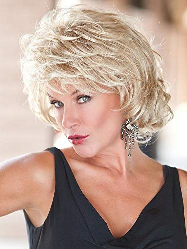 """Alluring Wig Color Light Blonde Rooted - Toni Brattin Wigs 6"""" Short Silky Waves Sassy Curls Shag Changelite 100% Heat Friendly Synthetic Natural Healthy Hair Peluca"""