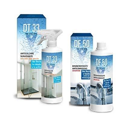 Metacril Detergente e Disincrostante ANTIGOCCIA per Box Doccia + Super DISINCROSTANTE anticorrosivo concentrato. DT33 500ml + DF50 500ml. Spedizione IMMEDIATA