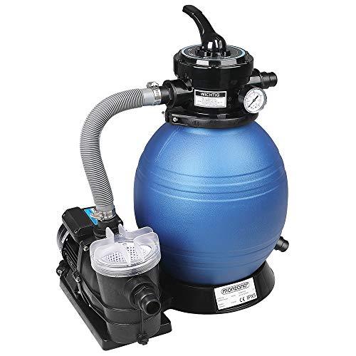 Monzana Depuradora 9.600 l/h Bomba de Filtro de Arena con válvula Tanque XXL 450W Filtro de Agua Volumen 25L para Piscina