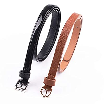 2 Pack Girls Women Comfortable Minimalism Skinny PU Leather Fashion Belts (Black Brown, S/M)