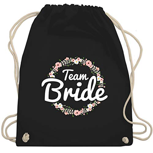 JGA Junggesellenabschied Frauen - Team Bride Blumenkranz - Unisize - Schwarz - team bride - WM110 - Turnbeutel und Stoffbeutel aus Baumwolle