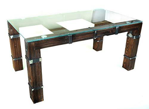 CHYRKA® DROHOBYCZ Loft Vintage Bar - Tavolo da Pranzo in Legno e Vetro e Metallo - Avvertimento!...