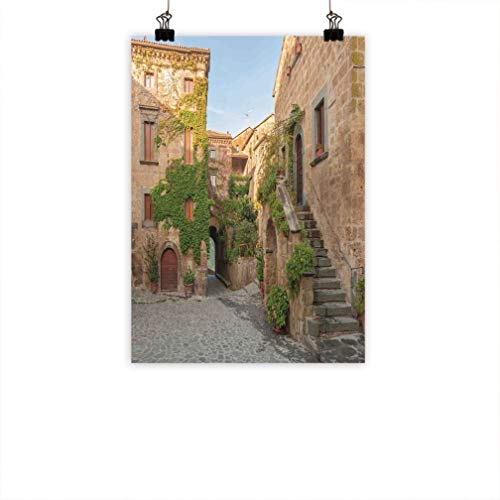 "Tuscan Wall Canvas Print, Village Houses with Colorful Flowers Outside in Burano Village Venice Italy Image Hanging Picture for Home Modern Decoration, 20"" W x 27"" L Ivory Green"