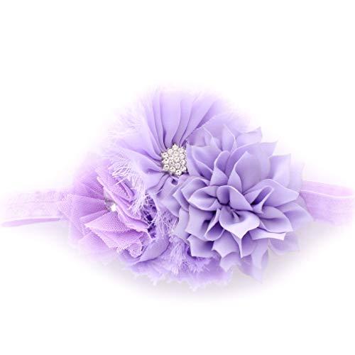 My Lello Headband Shabby Fabric Flower Cluster Baby - Infant - Toddler - Girl Stretchy Elastic Lavender