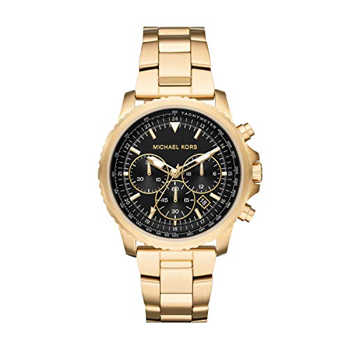 Michael Kors Men's Cortlandt Stainless Steel Analog-Quartz Watch with Stainless-Steel-Plated Strap, Gold, 18 (Model: MK8642)