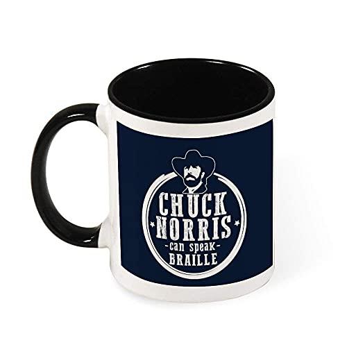 N\A Chuck Norris Puede Hablar de cerámica Taza Braille Taza del té, Regalo para Las Mujeres, Las niñas, Esposa, mamá, Abuela, 11 oz