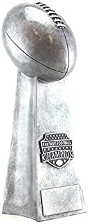 Decade Awards Fantasy Football Champion Silver Tower Trophy - Gridiron Award - 12 Inch Tall - Engraved Plate on Request