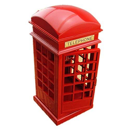 IREANJ Caja de música de Simulación de la Calle de Londres teléfono Rojo clásico de Talla Cabina de la Caja de música de Madera (Color: Color del Cuadro, Tamaño: 23X10X10CM)