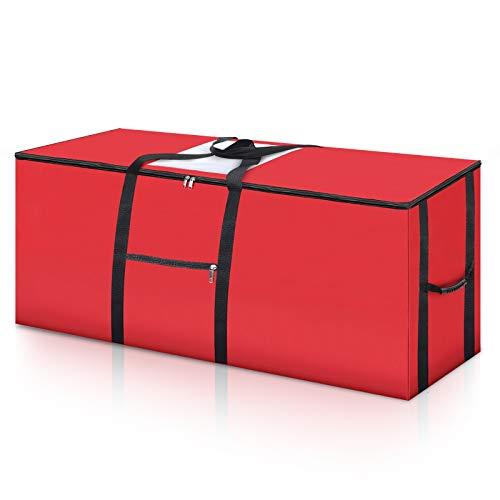 king do way Sacchetto di Immagazzinaggio dell'albero di Natale - Albero di Natale Artificiale con manici rinforzati, Tessuto Oxford 600D Resistente Agli Strappi Adatto all'albero fino a 8Ft, Rosso